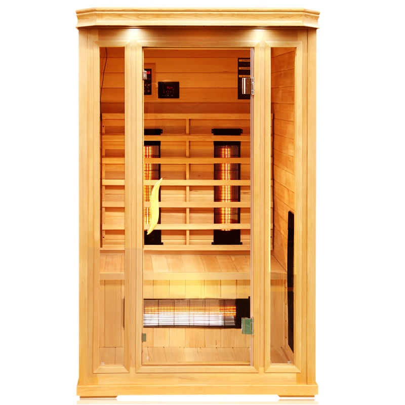 Far infrared sauna room with glass heater